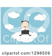 Clipart Of A Flat Modern White Businessman Using A Laptop On A Cloud Over Blue Royalty Free Vector Illustration by Vector Tradition SM