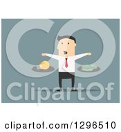 Clipart Of A Flat Modern White Businessman Weighing Money And A Light Bulb Over Blue Royalty Free Vector Illustration