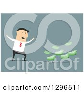 Clipart Of A Flat Modern White Businessman Cheering By Cash Money Over Blue Royalty Free Vector Illustration