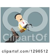 Clipart Of A Flat Modern White Businessman Being Kicked And Fired Over Blue Royalty Free Vector Illustration
