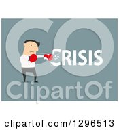 Clipart Of A Flat Modern White Businessman Punching Out A Crisis Over Blue Royalty Free Vector Illustration