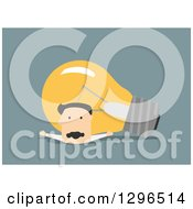 Clipart Of A Flat Modern White Businessman Being Crushed By A Light Bulb Over Blue Royalty Free Vector Illustration