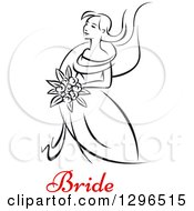 Clipart Of A Sketched Black And White Bride Holding A Bouquet Of Flowers With Red Text 6 Royalty Free Vector Illustration