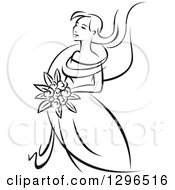 Clipart Of A Sketched Black And White Bride Holding A Bouquet Of Flowers And Facing Left 4 Royalty Free Vector Illustration