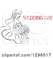 Clipart Of A Sketched Black And White Bride Holding A Bouquet Of Flowers With Red Text 7 Royalty Free Vector Illustration