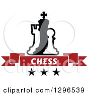 Clipart Of A Black And White Chess Piece Pawn King And Rook With A Red Text Banner Over Stars Royalty Free Vector Illustration