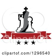 Clipart Of A Black And White Chess Piece Pawn King And Rook With A Red Blank Banner Over Stars Royalty Free Vector Illustration