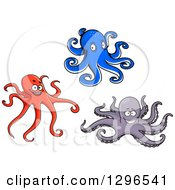 Cartoon Blue Red And Purple Octopuses