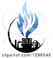 Clipart Of A Black And Blue Natural Gas And Flame Design Royalty Free Vector Illustration