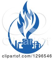 Clipart Of A Blue Natural Gas And Flame Design Royalty Free Vector Illustration