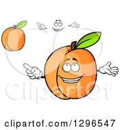 Clipart Of A Cartoon Face And Apricots Royalty Free Vector Illustration