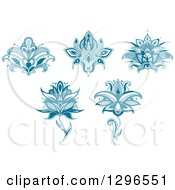 Clipart Of Teal Henna Flowers 2 Royalty Free Vector Illustration