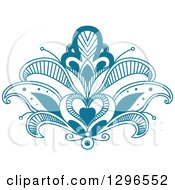 Clipart Of A Beautiful Teal Henna Lotus Flower 6 Royalty Free Vector Illustration