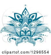 Clipart Of A Beautiful Teal Henna Lotus Flower 7 Royalty Free Vector Illustration