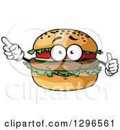 Clipart Of A Cartoon Hamburger Character Giving A Thumb Up And Pointing Royalty Free Vector Illustration