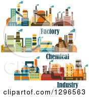 Clipart Of Colorful Factory Buildings And Text Royalty Free Vector Illustration