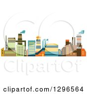 Clipart Of Colorful Factory Buildings Royalty Free Vector Illustration