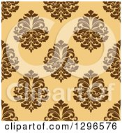 Clipart Of A Seamless Pattern Background Of Brown Damask On Orange Royalty Free Vector Illustration by Vector Tradition SM