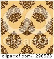 Seamless Pattern Background Of Brown Damask On Orange