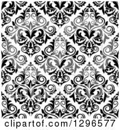 Clipart Of A Seamless Pattern Background Of Damask In Black On White 2 Royalty Free Vector Illustration by Vector Tradition SM