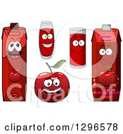 Clipart Of A Happy Red Apple Character And Juice Cartons And Cups Royalty Free Vector Illustration