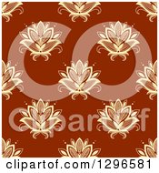 Clipart Of A Seamless Pattern Background Of Yellow Lotus Henna Flowers On Rust Brown Royalty Free Vector Illustration