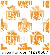 Poster, Art Print Of Seamless Background Pattern Of Orange Mayan Tribal Eagles