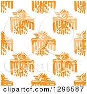 Seamless Background Pattern Of Orange Mayan Tribal Eagles