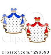Clipart Of Crowns And Royal Mantles With Red And Blue Drapes Royalty Free Vector Illustration by Vector Tradition SM