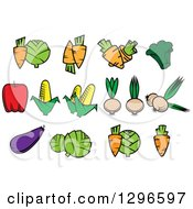 Clipart Of Cartoon Veggies Royalty Free Vector Illustration by Vector Tradition SM