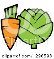 Clipart Of A Cartoon Carrot And Artichoke Royalty Free Vector Illustration by Vector Tradition SM