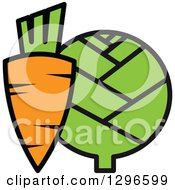 Clipart Of A Cartoon Carrot And Artichoke 2 Royalty Free Vector Illustration by Vector Tradition SM