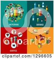 Poster, Art Print Of Flat Beverage Drinks Coffee And Tea Designs