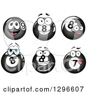 Clipart Of Cartoon Eight And Seven Billiards Balls Royalty Free Vector Illustration