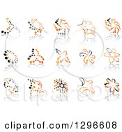 Clipart Of Black And Orange Abstract Dot Windmills And Reflections 2 Royalty Free Vector Illustration by Vector Tradition SM