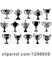 Clipart Of Black Silhouetted Trophy Cups Or Urns Royalty Free Vector Illustration