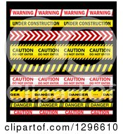 Clipart Of A Red White And Yellow Caution Tapes On Black Royalty Free Vector Illustration