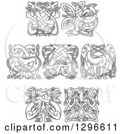 Clipart Of Black And White Lineart Celtic Knot Animals Royalty Free Vector Illustration