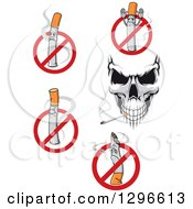 Clipart Of A Skull And No Smoking Designs Royalty Free Vector Illustration by Vector Tradition SM