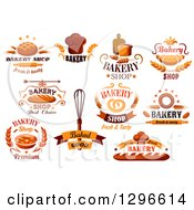 Clipart Of Food And Bakery Designs With Text Royalty Free Vector Illustration