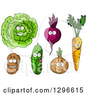 Cartoon Happy Veggie Characters
