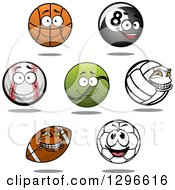 Clipart Of A Cartoon Basketball Eightball Baseball Tennis Ball Volleyball American Football And Soccer Ball Royalty Free Vector Illustration