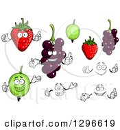 Clipart Of A Strawberries Gooseberries And Currants Royalty Free Vector Illustration by Vector Tradition SM