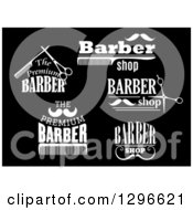 Clipart Of White Barber Shop Designs On Black Royalty Free Vector Illustration by Vector Tradition SM