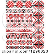 Clipart Of A Red Black And White Native American Border Designs 4 Royalty Free Vector Illustration by Vector Tradition SM