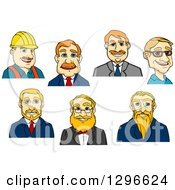 Clipart Of Cartoon Avatars Of White Contractor And Business Men Royalty Free Vector Illustration