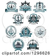 Clipart Of Anchor Lighthouse And Sailboat Nautical Designs With Text Royalty Free Vector Illustration by Vector Tradition SM