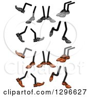 Clipart Of Pairs Of Legs Wearing Brown Or Gray Shoes Royalty Free Vector Illustration by Vector Tradition SM