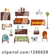 Clipart Of Retro Or Modern Furniture 2 Royalty Free Vector Illustration