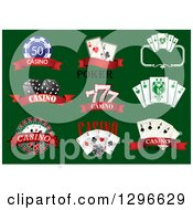 Clipart Of Casino Designs With Text On Green Royalty Free Vector Illustration by Vector Tradition SM